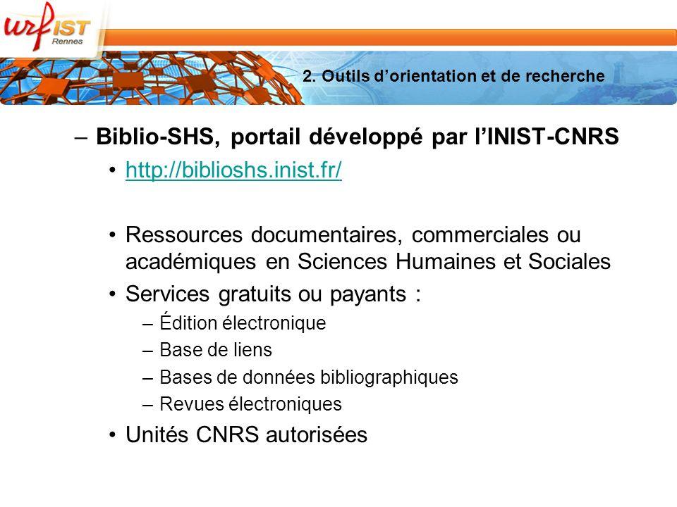 2. Outils dorientation et de recherche –Biblio-SHS, portail développé par lINIST-CNRS http://biblioshs.inist.fr/ Ressources documentaires, commerciale