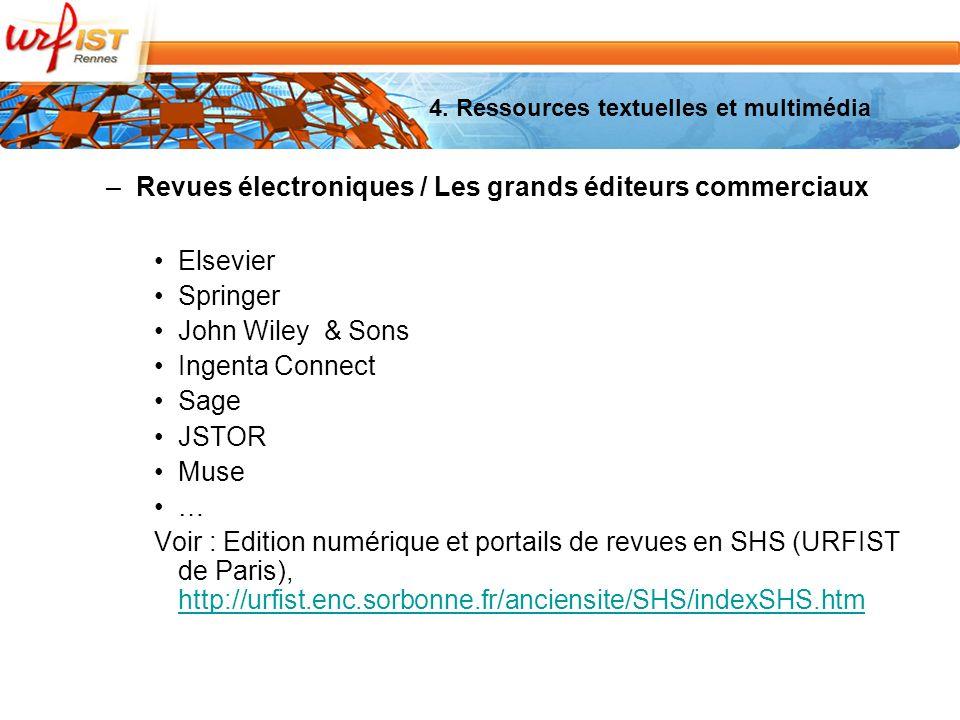 –Revues électroniques / Les grands éditeurs commerciaux Elsevier Springer John Wiley & Sons Ingenta Connect Sage JSTOR Muse … Voir : Edition numérique et portails de revues en SHS (URFIST de Paris), http://urfist.enc.sorbonne.fr/anciensite/SHS/indexSHS.htm http://urfist.enc.sorbonne.fr/anciensite/SHS/indexSHS.htm 4.