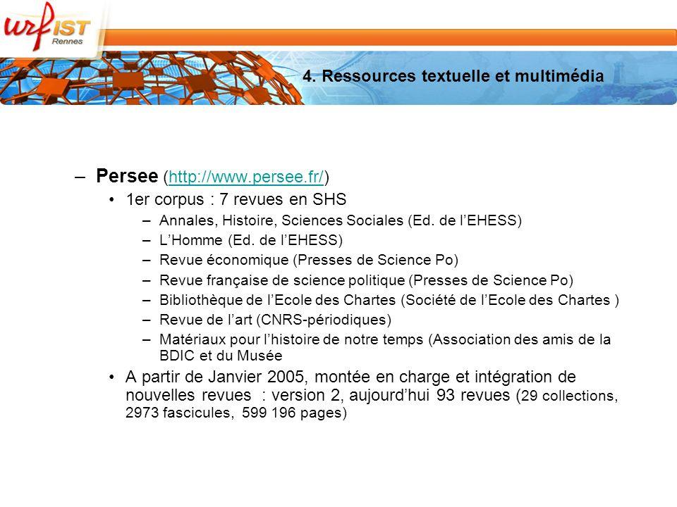 –Persee (http://www.persee.fr/)http://www.persee.fr/ 1er corpus : 7 revues en SHS –Annales, Histoire, Sciences Sociales (Ed.