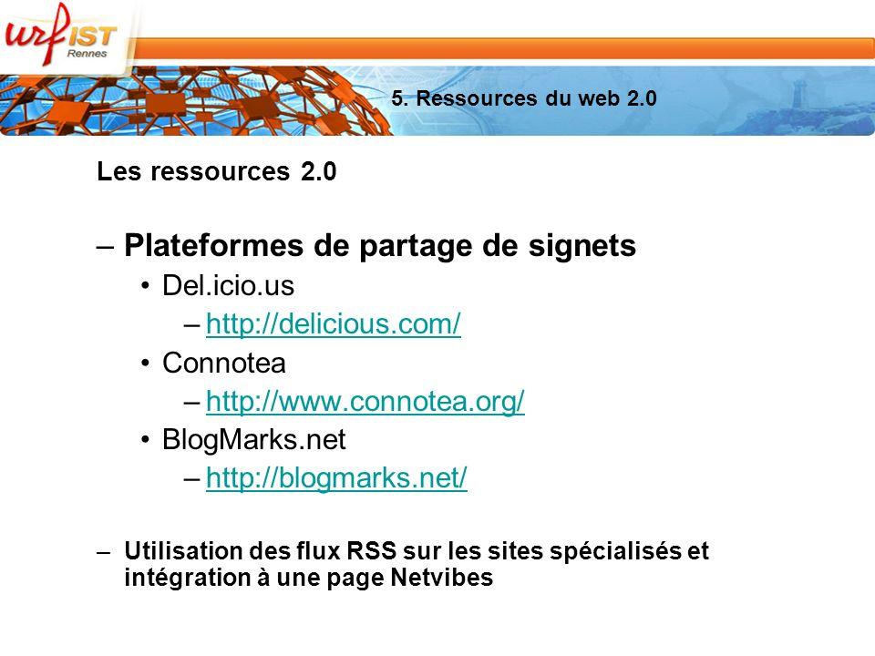Les ressources 2.0 –Plateformes de partage de signets Del.icio.us –http://delicious.com/http://delicious.com/ Connotea –http://www.connotea.org/http://www.connotea.org/ BlogMarks.net –http://blogmarks.net/http://blogmarks.net/ –Utilisation des flux RSS sur les sites spécialisés et intégration à une page Netvibes 5.
