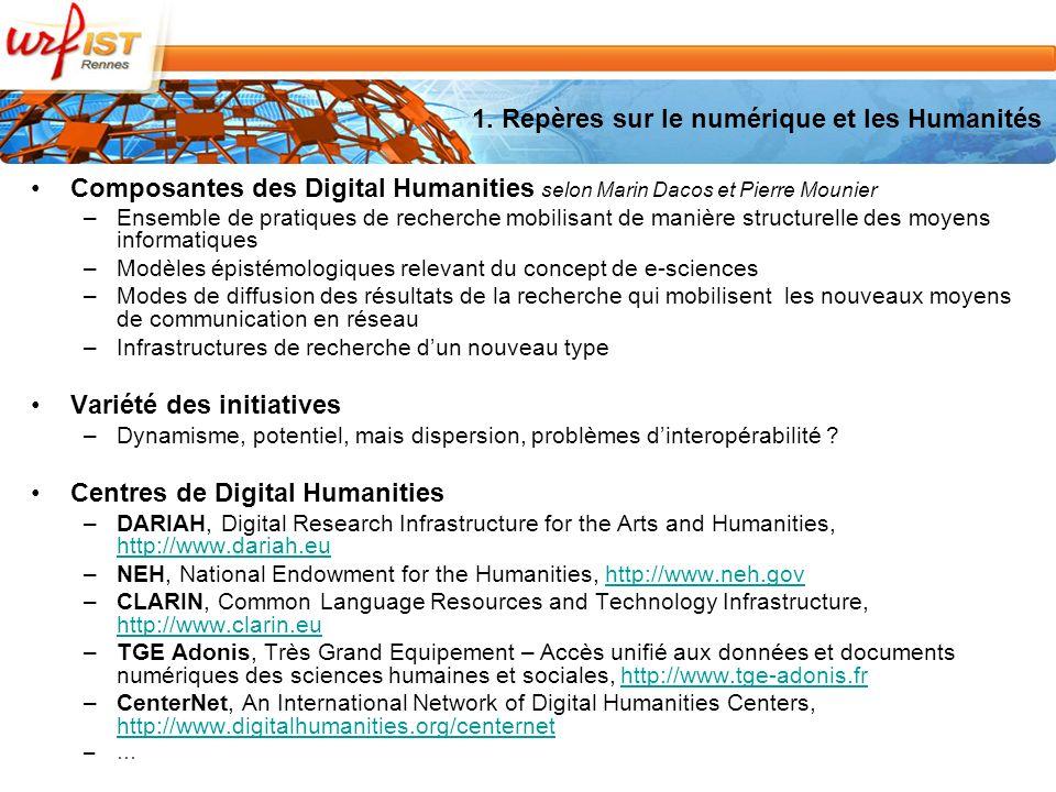 Un intérêt et des initiatives de plus en plus prégnantes, par ex : –THATCamp, Paris, 18-19 mai 2010, http://tcp.hypotheses.org/ http://tcp.hypotheses.org/ –Printemps des Sciences Humaines et Sociales, Lille, 2010 « SHS 2.0 : objets et pratiques numériques », http://www.meshs.fr/page.php?r=108&id=758&lang=fr http://www.meshs.fr/page.php?r=108&id=758&lang=fr –LHistoire contemporaine à lère digitale, http://symposium.cvce.lu/ http://symposium.cvce.lu/ 1.