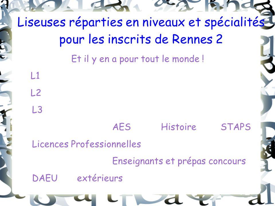 Liseuses réparties en niveaux et spécialités pour les inscrits de Rennes 2 Et il y en a pour tout le monde .
