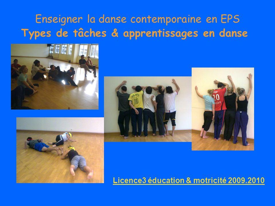Enseigner la danse contemporaine en EPS Types de tâches & apprentissages en danse Tâches de reproduction dun modèle Tâches définies But, conditions de réalisation, opérations, critères de réussite Apprentissage par imitation & répétition