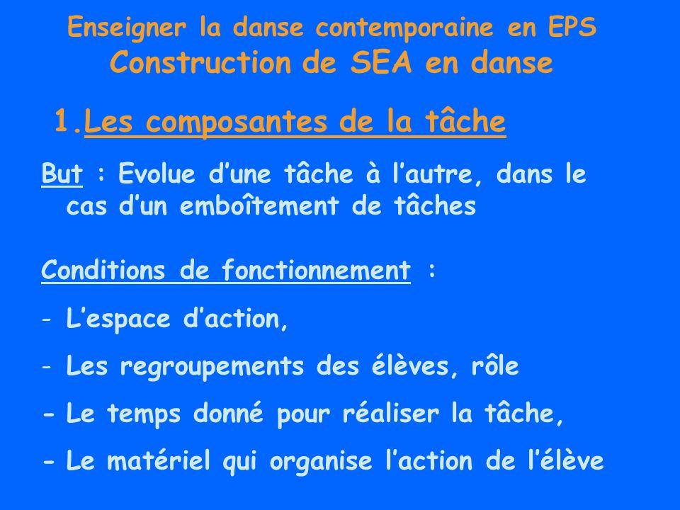 Enseigner la danse contemporaine en EPS Construction de SEA en danse But : Evolue dune tâche à lautre, dans le cas dun emboîtement de tâches Condition