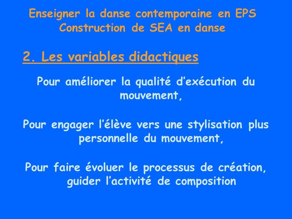 Enseigner la danse contemporaine en EPS Construction de SEA en danse Pour améliorer la qualité dexécution du mouvement, Pour engager lélève vers une s