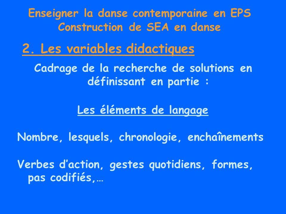 Enseigner la danse contemporaine en EPS Construction de SEA en danse Cadrage de la recherche de solutions en définissant en partie : Les éléments de l