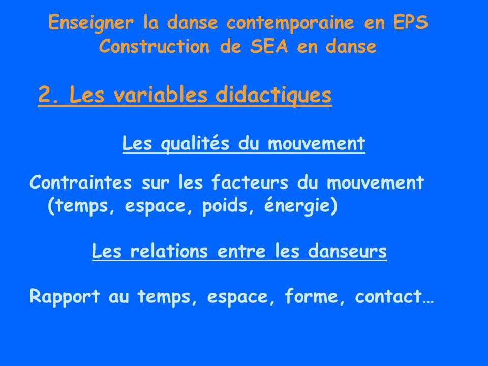 Enseigner la danse contemporaine en EPS Construction de SEA en danse Les qualités du mouvement Contraintes sur les facteurs du mouvement (temps, espac