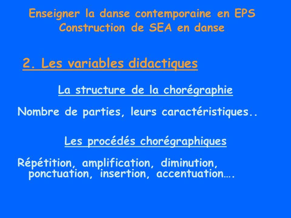 Enseigner la danse contemporaine en EPS Construction de SEA en danse La structure de la chorégraphie Nombre de parties, leurs caractéristiques.. Les p