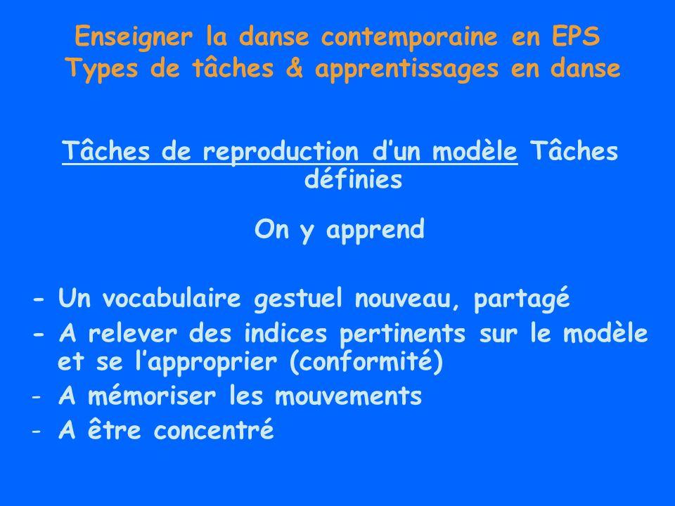 Enseigner la danse contemporaine en EPS Types de tâches & apprentissages en danse Tâches dimprovisation Tâches semi définies But, conditions de réalisation, opérations, critères de réussite Apprentissage par exploration guidée par des contraintes