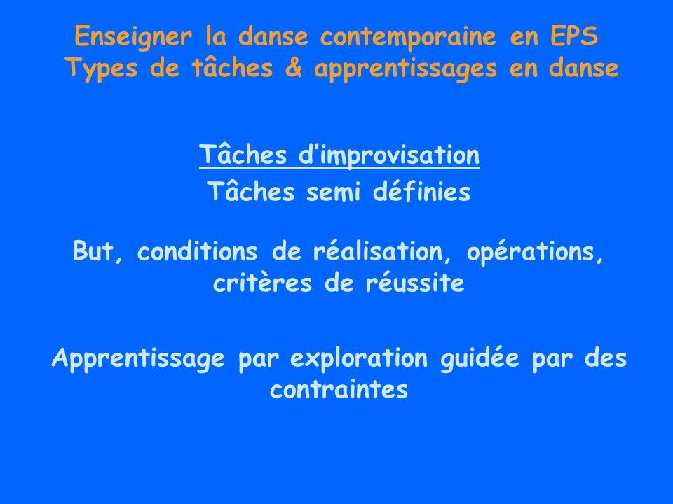 Enseigner la danse contemporaine en EPS Types de tâches & apprentissages en danse Tâches dimprovisation Tâches semi définies But, conditions de réalis