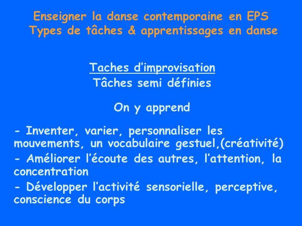 Enseigner la danse contemporaine en EPS Types de tâches & apprentissages en danse Tâches de composition Tâches semi définies (SRP) But, conditions de réalisation, opérations, critères de réussite Apprentissage par résolution de problème dans un système de contraintes