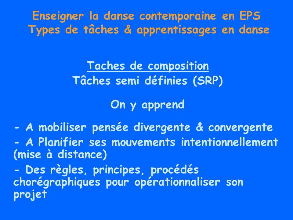 Enseigner la danse contemporaine en EPS Types de tâches & apprentissages en danse Taches de composition Tâches semi définies (SRP) On y apprend - A mo