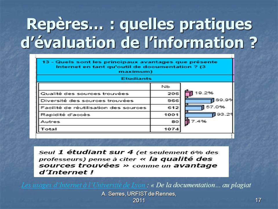 A.Serres, URFIST de Rennes, 201117 Repères… : quelles pratiques dévaluation de linformation .