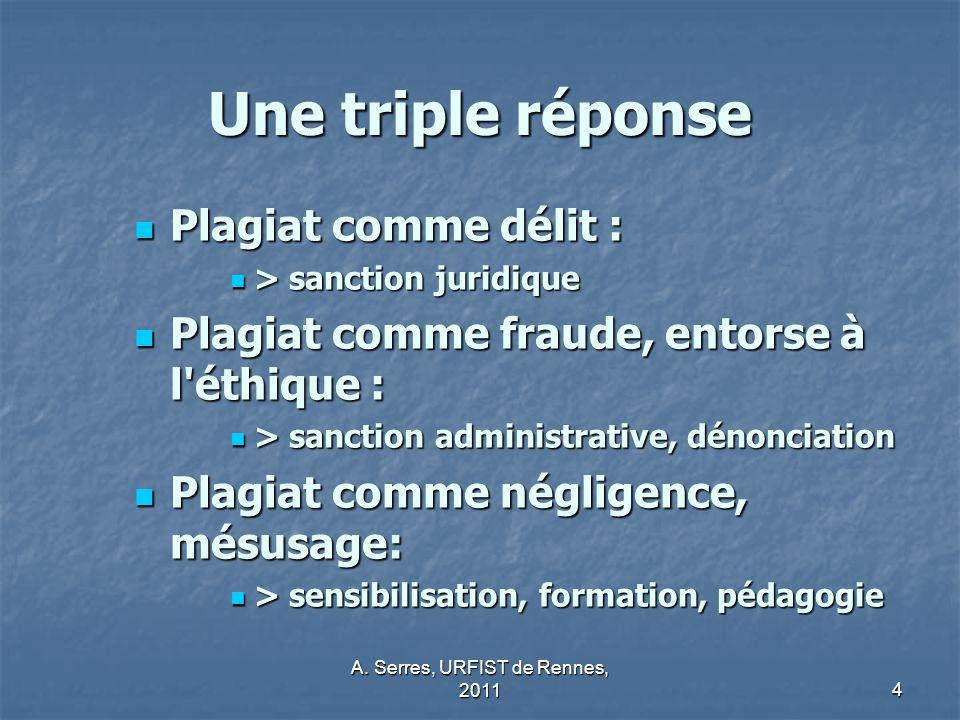 A. Serres, URFIST de Rennes, 20114 Une triple réponse Plagiat comme délit : Plagiat comme délit : > sanction juridique > sanction juridique Plagiat co