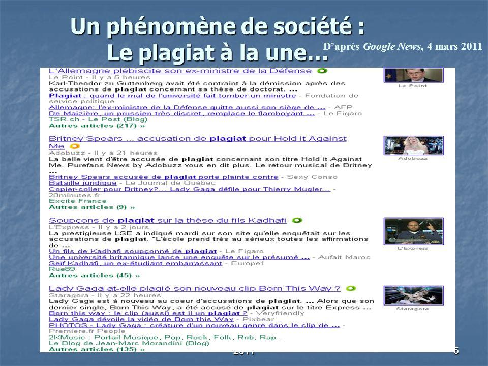A. Serres, URFIST de Rennes, 20115 Un phénomène de société : Le plagiat à la une… Daprès Google News, 4 mars 2011