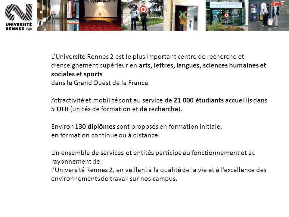 LUniversité Rennes 2 est le plus important centre de recherche et denseignement supérieur en arts, lettres, langues, sciences humaines et sociales et sports dans le Grand Ouest de la France.