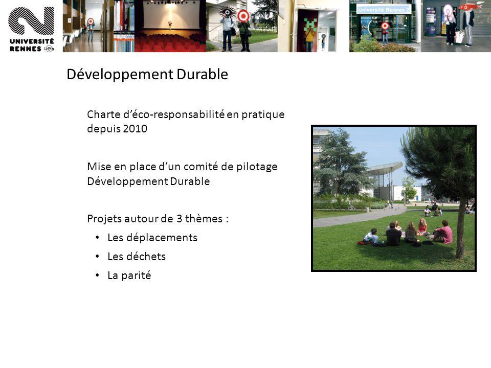 Développement Durable Charte déco-responsabilité en pratique depuis 2010 Mise en place dun comité de pilotage Développement Durable Projets autour de 3 thèmes : Les déplacements Les déchets La parité