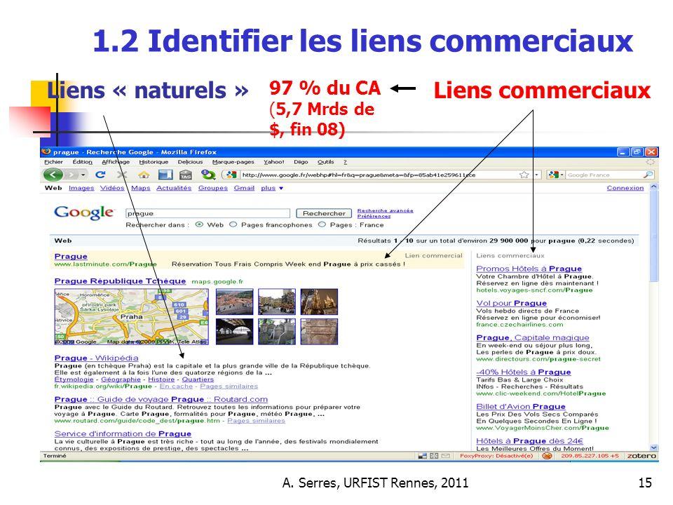 A. Serres, URFIST Rennes, 201115 1.2 Identifier les liens commerciaux 97 % du CA (5,7 Mrds de $, fin 08) Liens « naturels »Liens commerciaux