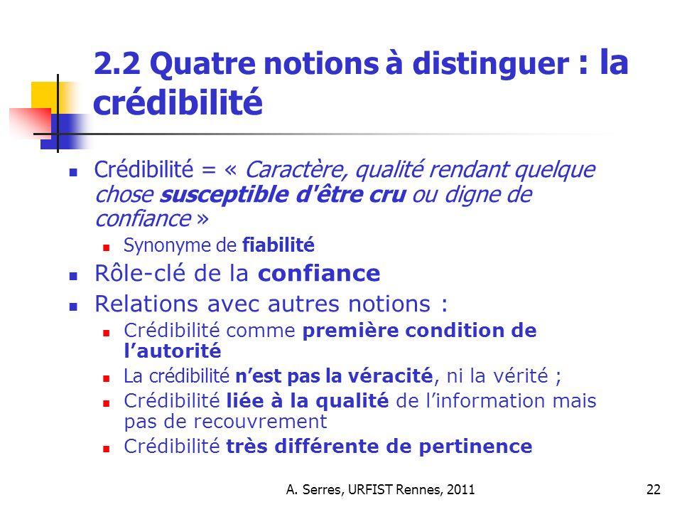 A. Serres, URFIST Rennes, 201122 2.2 Quatre notions à distinguer : la crédibilité Crédibilité = « Caractère, qualité rendant quelque chose susceptible