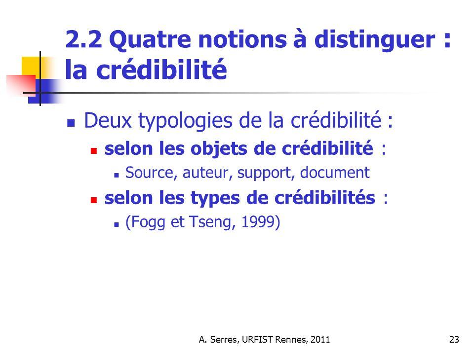 A. Serres, URFIST Rennes, 201123 2.2 Quatre notions à distinguer : la crédibilité Deux typologies de la crédibilité : selon les objets de crédibilité