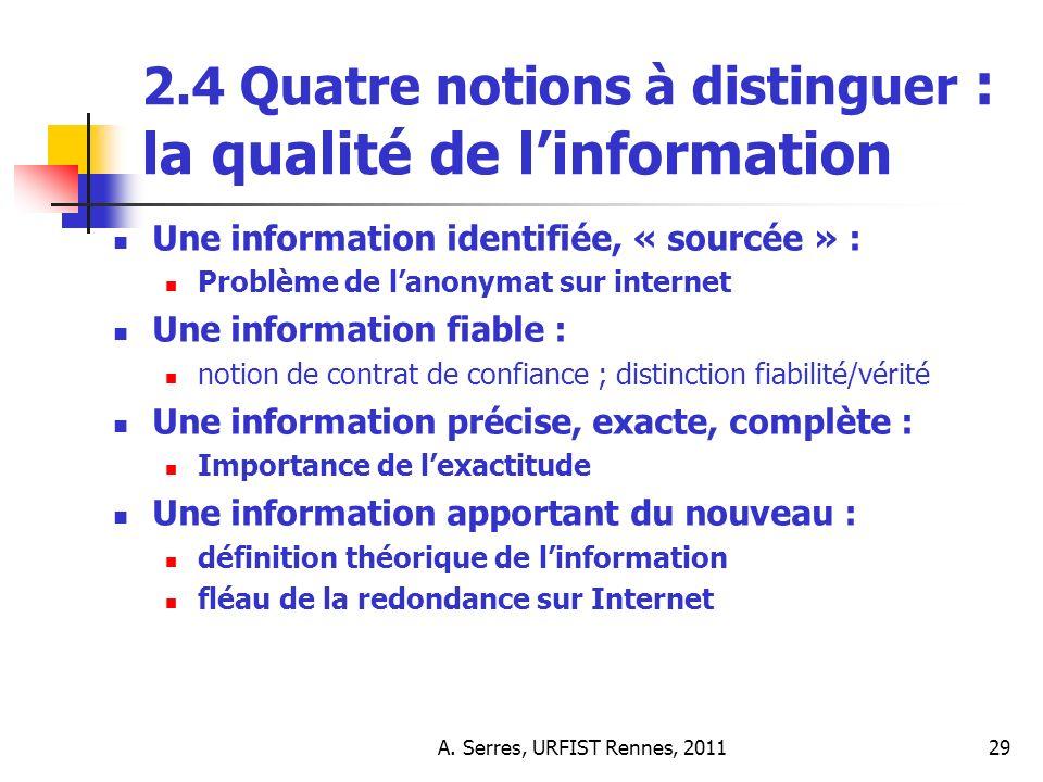 A. Serres, URFIST Rennes, 201129 2.4 Quatre notions à distinguer : la qualité de linformation Une information identifiée, « sourcée » : Problème de la