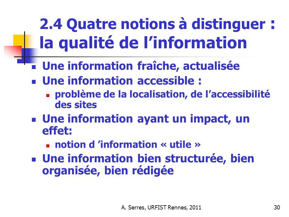 A. Serres, URFIST Rennes, 201130 2.4 Quatre notions à distinguer : la qualité de linformation Une information fraîche, actualisée Une information acce