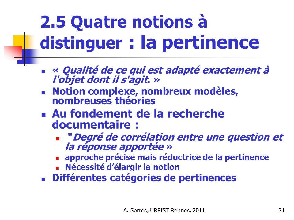 A. Serres, URFIST Rennes, 201131 2.5 Quatre notions à distinguer : la pertinence « Qualité de ce qui est adapté exactement à l'objet dont il s'agit. »