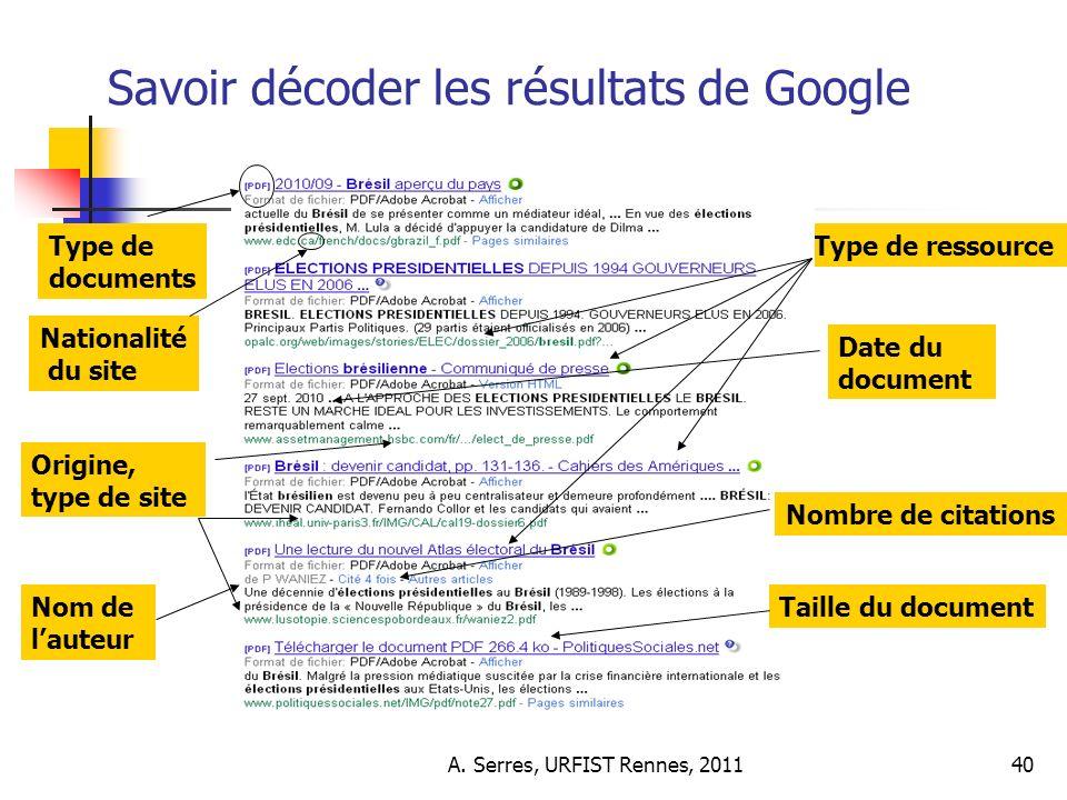 A. Serres, URFIST Rennes, 201140 Savoir décoder les résultats de Google Type de documents Date du document Nationalité du site Origine, type de site T