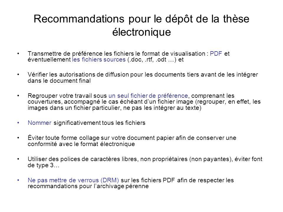 Recommandations pour le dépôt de la thèse électronique Transmettre de préférence les fichiers le format de visualisation : PDF et éventuellement les f