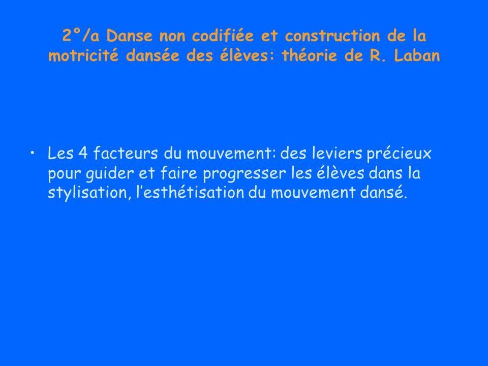 2°/a Danse non codifiée et construction de la motricité dansée des élèves: théorie de R. Laban Les 4 facteurs du mouvement: des leviers précieux pour