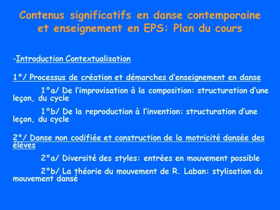 Contenus significatifs en danse contemporaine et enseignement en EPS: Plan du cours -Introduction Contextualisation 1°/ Processus de création et démar