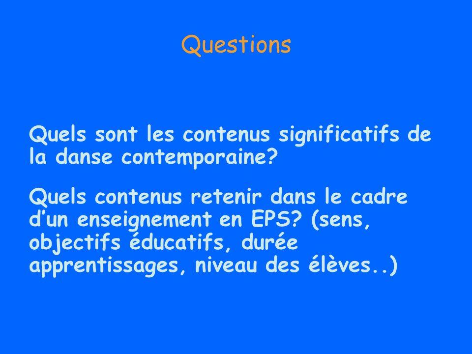Questions Quels sont les contenus significatifs de la danse contemporaine? Quels contenus retenir dans le cadre dun enseignement en EPS? (sens, object
