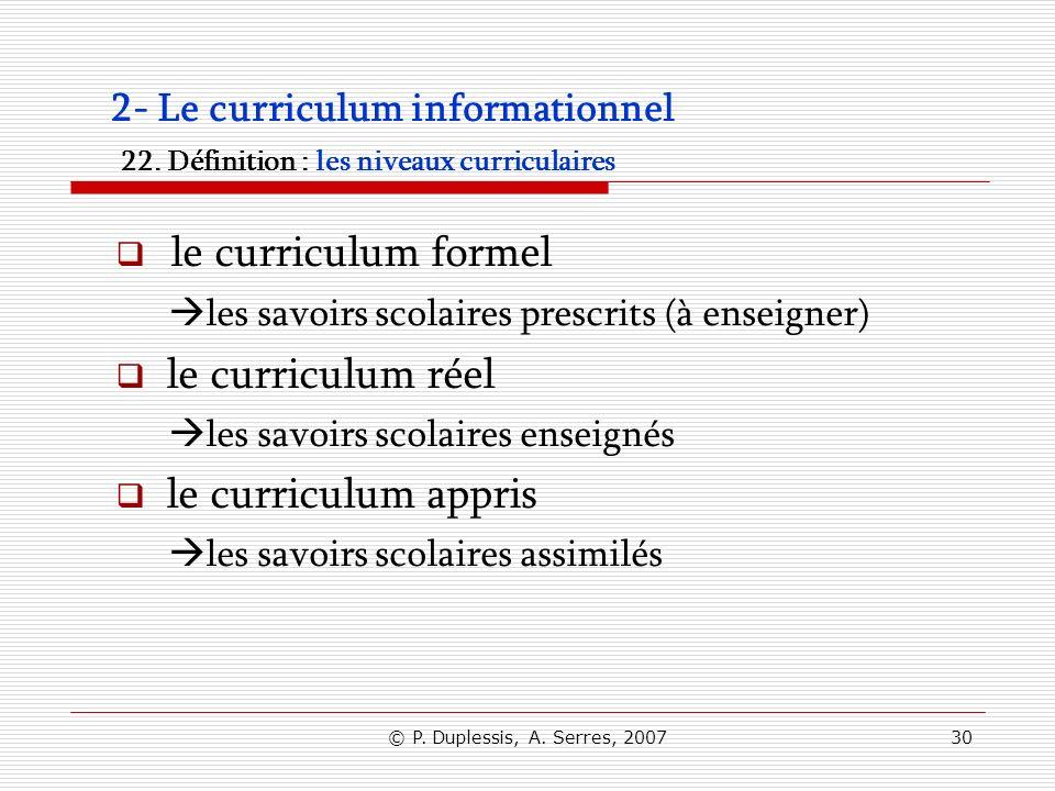 © P. Duplessis, A. Serres, 200730 2- Le curriculum informationnel 22. Définition : les niveaux curriculaires le curriculum formel les savoirs scolaire