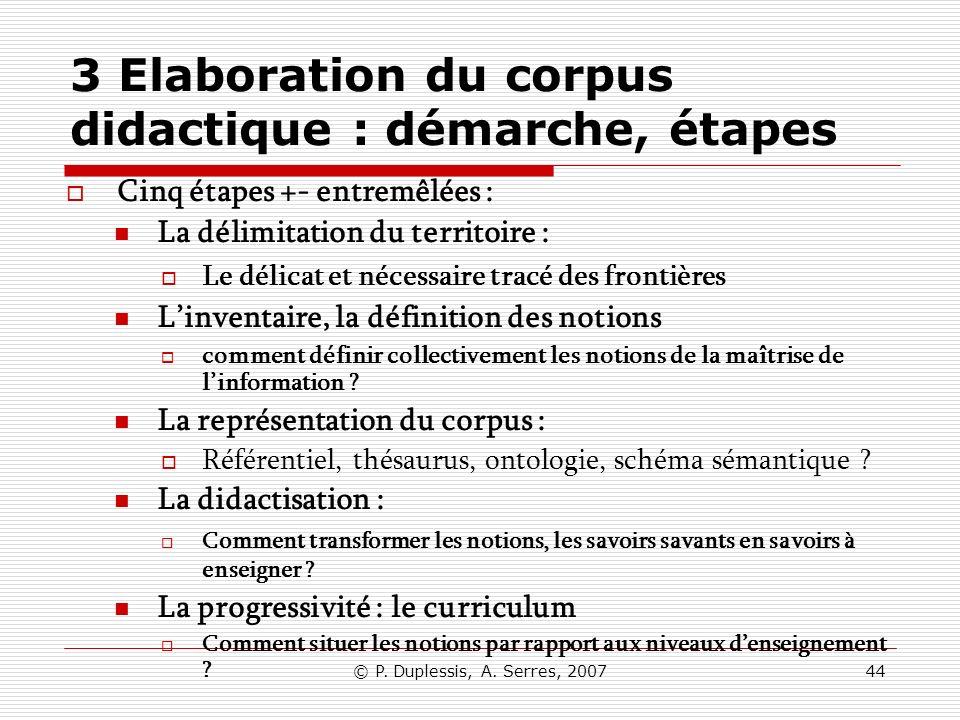 © P. Duplessis, A. Serres, 200744 3 Elaboration du corpus didactique : démarche, étapes Cinq étapes +- entremêlées : La délimitation du territoire : L