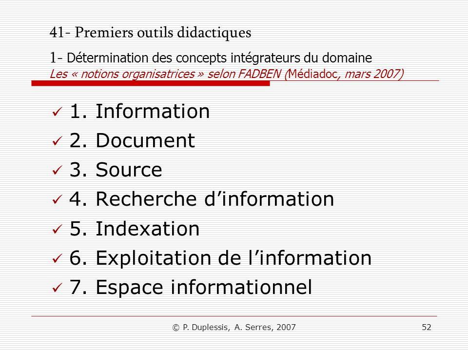 © P. Duplessis, A. Serres, 200752 41- Premiers outils didactiques 1- Détermination des concepts intégrateurs du domaine Les « notions organisatrices »