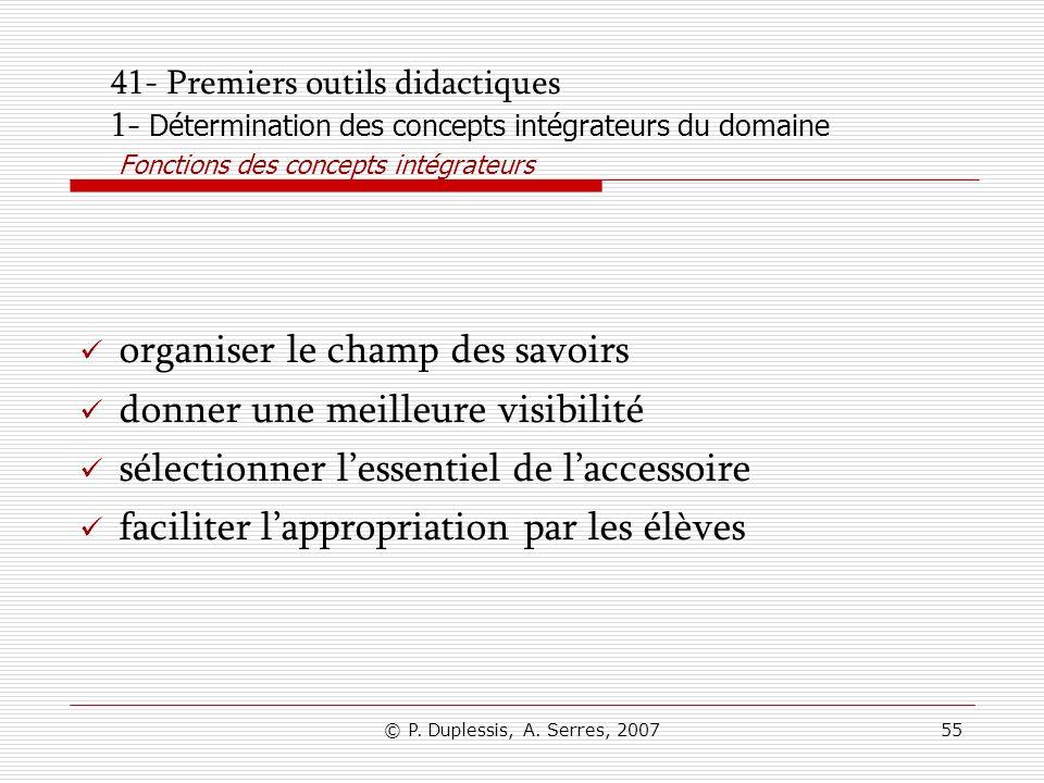© P. Duplessis, A. Serres, 200755 41- Premiers outils didactiques 1- Détermination des concepts intégrateurs du domaine Fonctions des concepts intégra