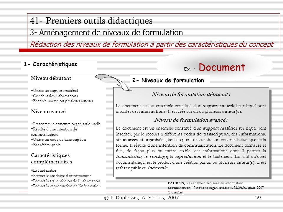 © P. Duplessis, A. Serres, 200759 41- Premiers outils didactiques 3- Aménagement de niveaux de formulation Rédaction des niveaux de formulation à part
