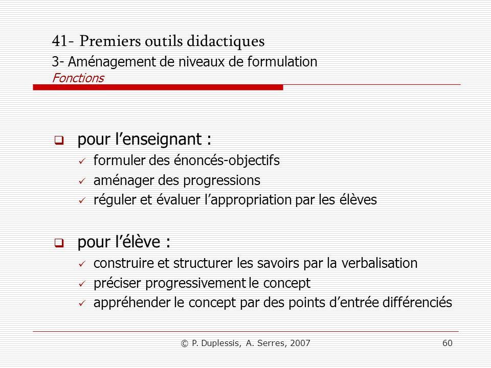 © P. Duplessis, A. Serres, 200760 41- Premiers outils didactiques 3- Aménagement de niveaux de formulation Fonctions pour lenseignant : formuler des é