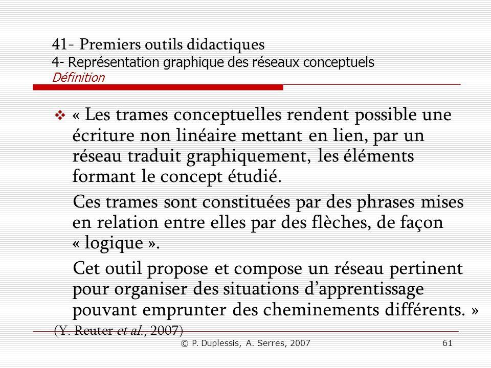 © P. Duplessis, A. Serres, 200761 41- Premiers outils didactiques 4- Représentation graphique des réseaux conceptuels Définition « Les trames conceptu