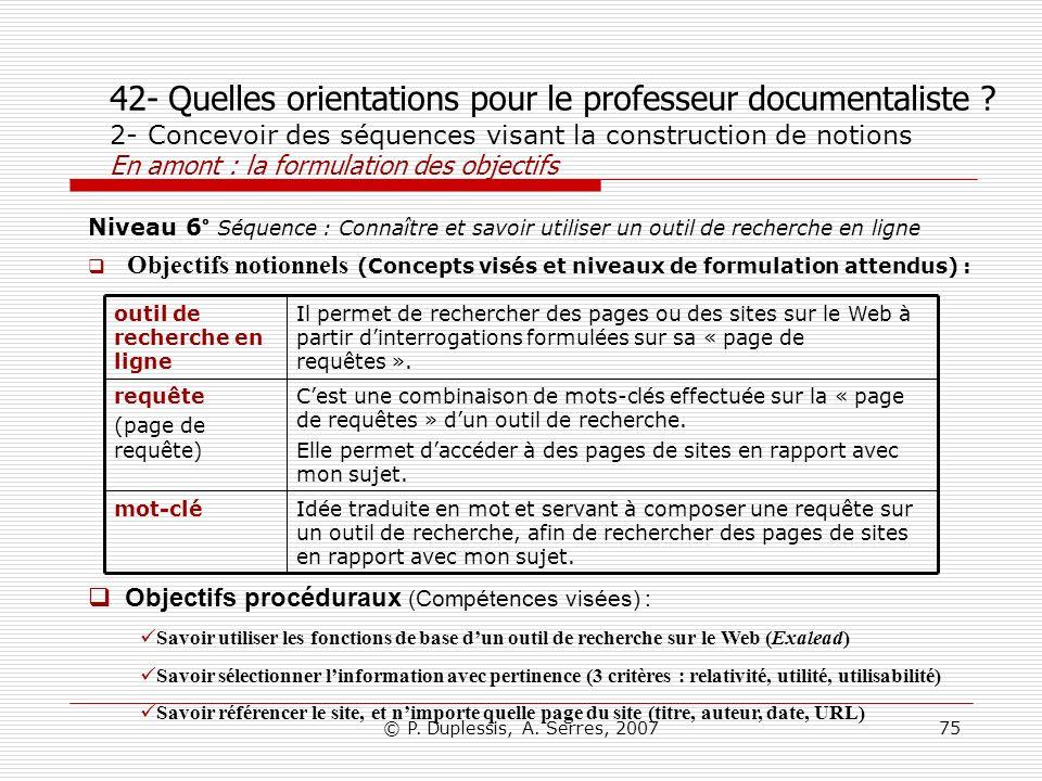 © P. Duplessis, A. Serres, 200775 42- Quelles orientations pour le professeur documentaliste ? 2- Concevoir des séquences visant la construction de no