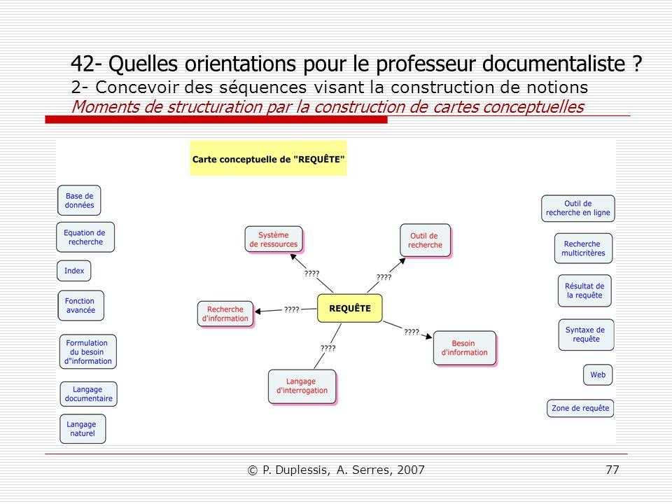 © P. Duplessis, A. Serres, 200777 42- Quelles orientations pour le professeur documentaliste ? 2- Concevoir des séquences visant la construction de no