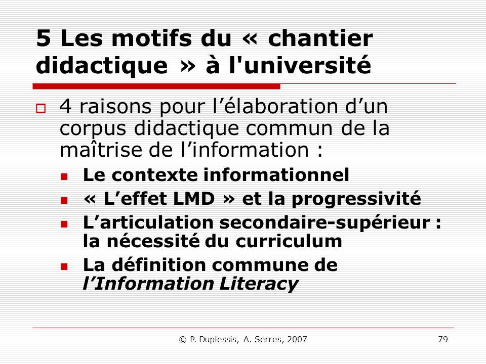 © P. Duplessis, A. Serres, 200779 5 Les motifs du « chantier didactique » à l'université 4 raisons pour lélaboration dun corpus didactique commun de l