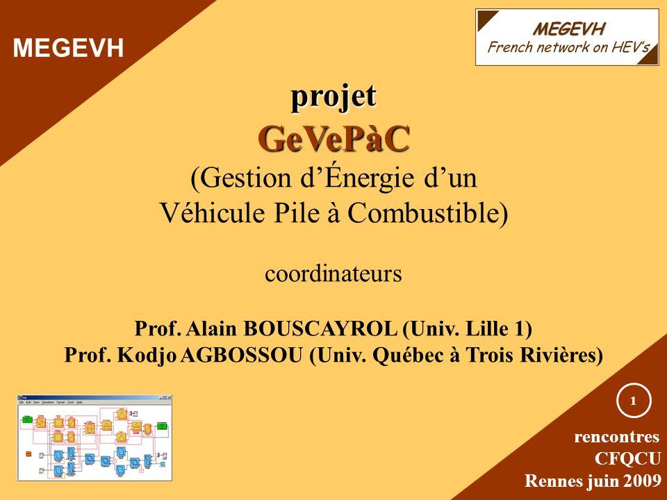 rencontres CFQCU Rennes juin 2009 1 projetGeVePàC (Gestion dÉnergie dun Véhicule Pile à Combustible) coordinateurs Prof. Alain BOUSCAYROL (Univ. Lille