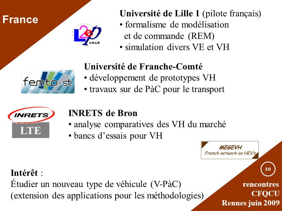 rencontres CFQCU Rennes juin 2009 10 France Université de Lille 1 (pilote français) formalisme de modélisation et de commande (REM) simulation divers