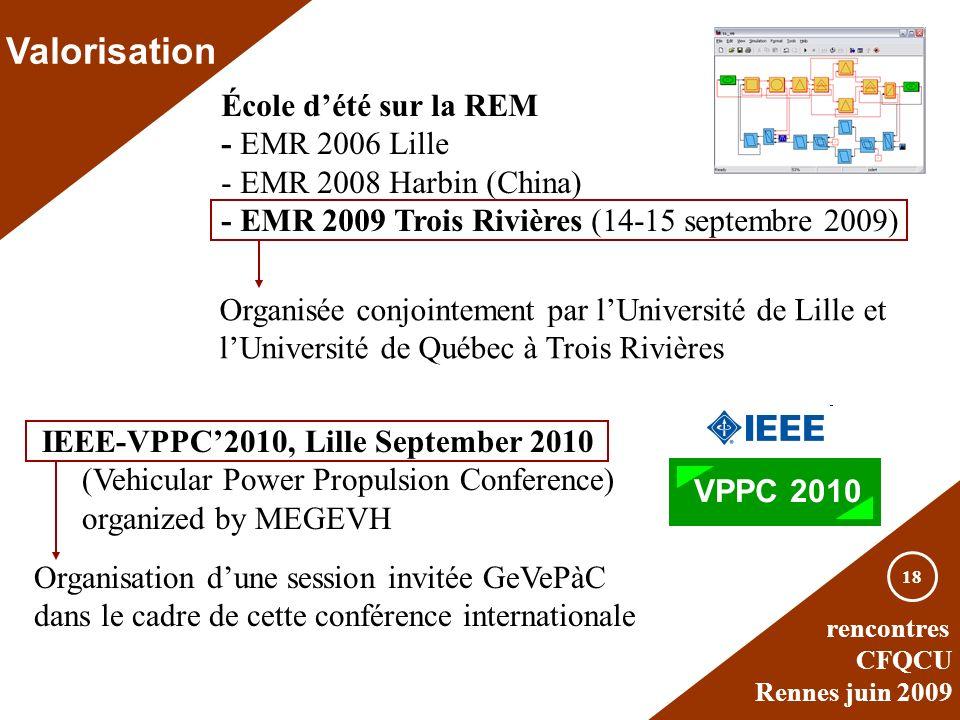 rencontres CFQCU Rennes juin 2009 18 Valorisation École dété sur la REM - EMR 2006 Lille - EMR 2008 Harbin (China) - EMR 2009 Trois Rivières (14-15 se