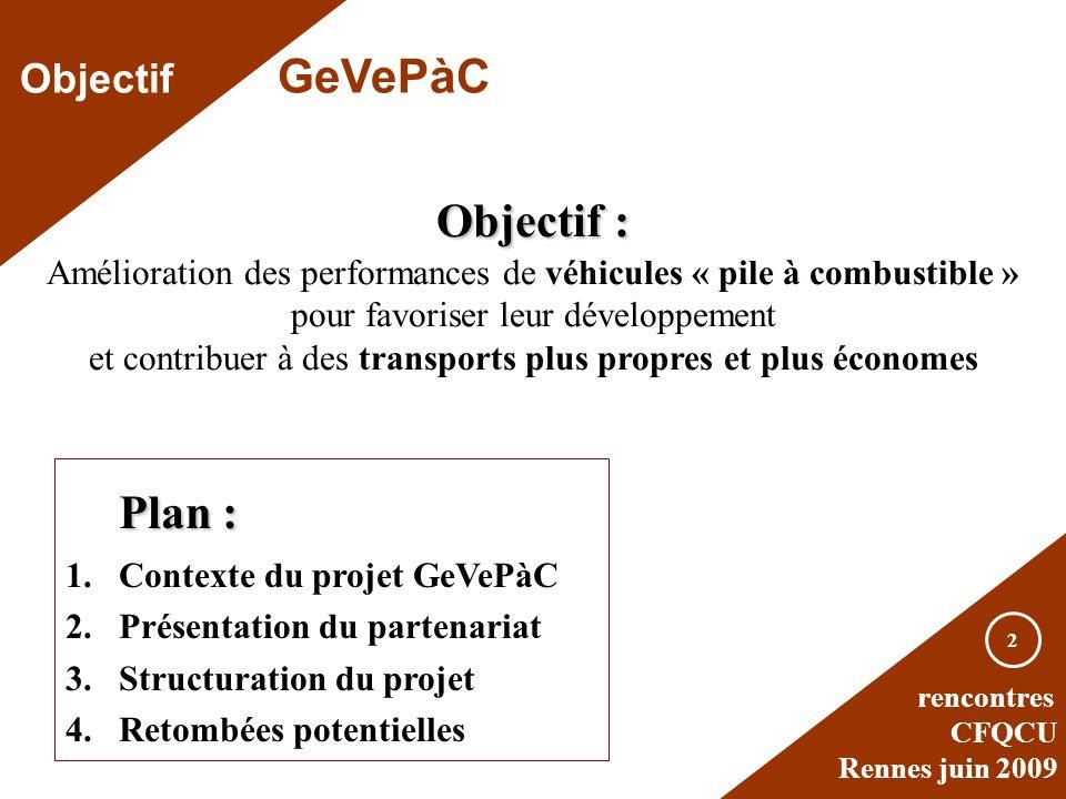rencontres CFQCU Rennes juin 2009 2 Objectif : Amélioration des performances de véhicules « pile à combustible » pour favoriser leur développement et