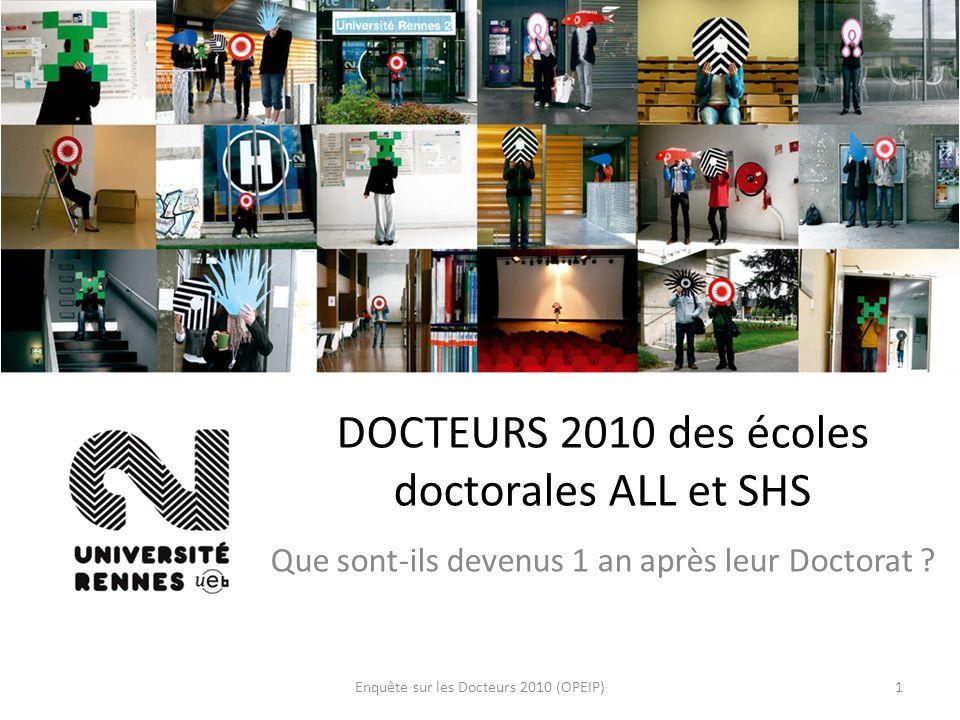 Enquête sur les Docteurs 2010 (OPEIP)1 DOCTEURS 2010 des écoles doctorales ALL et SHS Que sont-ils devenus 1 an après leur Doctorat ?