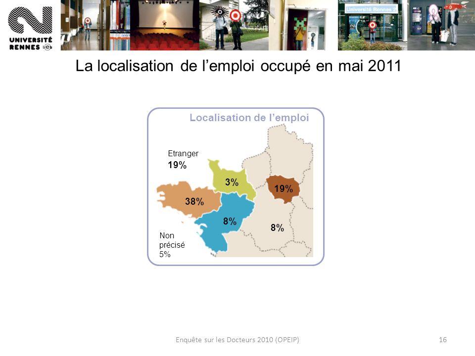 Enquête sur les Docteurs 2010 (OPEIP)16 La localisation de lemploi occupé en mai 2011 38% 3% 19% 8% Etranger 19% Localisation de lemploi Non précisé 5%