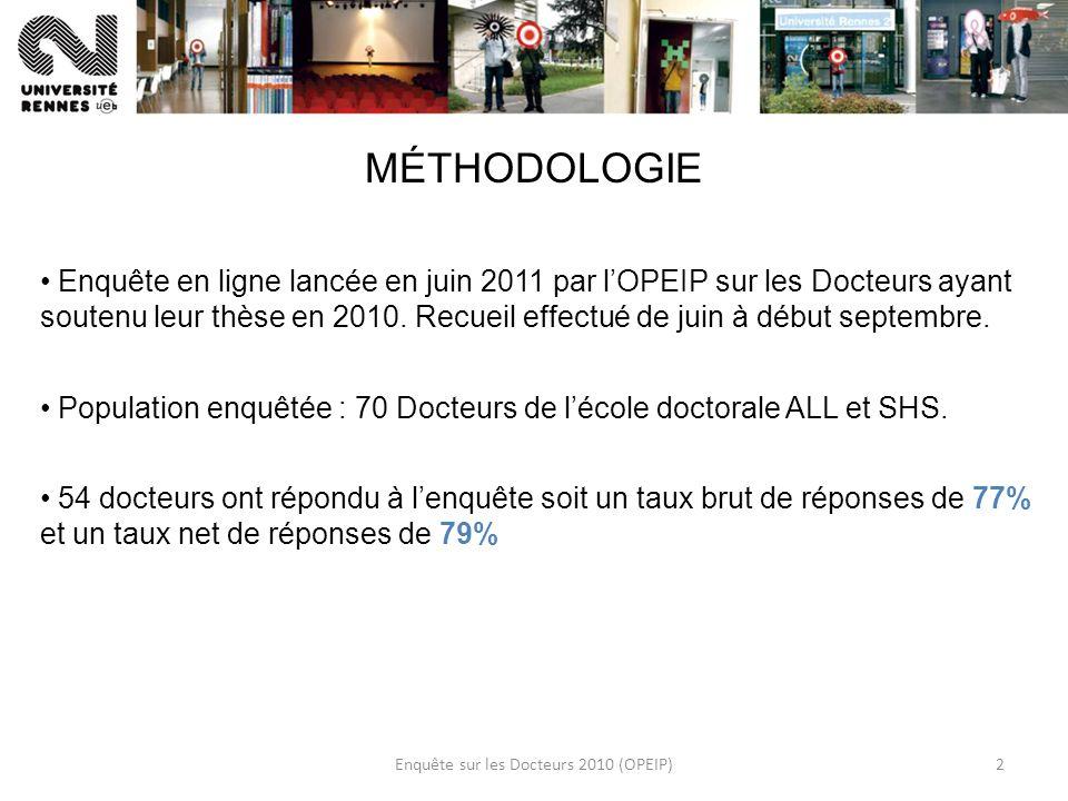 Enquête sur les Docteurs 2010 (OPEIP)2 MÉTHODOLOGIE Enquête en ligne lancée en juin 2011 par lOPEIP sur les Docteurs ayant soutenu leur thèse en 2010.