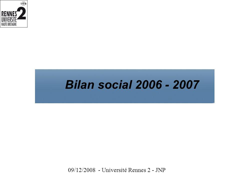 Bilan social 2006 - 2007 09/12/2008 - Université Rennes 2 - JNP